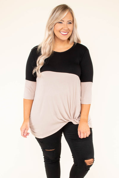 Chasing A Feeling Tunic, Black-Taupe