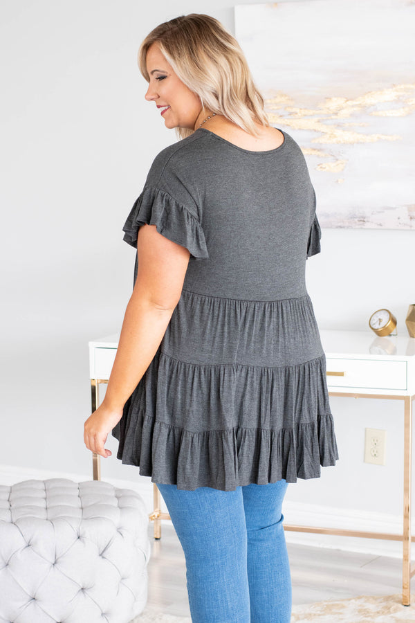 tunic, short sleeves, babydoll, ruffles, ruffle sleeves, gray, solid, flowy, loose, comfy