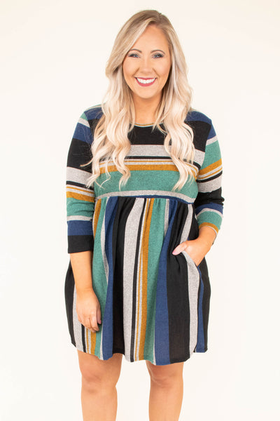dress, short, three quarter sleeve, pockets, stripe,mint, mustard, navy