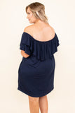dress, short, short sleeve, off the shoulder, ruffle top, pockets, flowy, navy, comfy, spring, summer