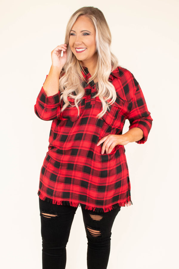 tunic, three quarter sleeve, collared, quarter button down, chest pockets, long, fringe hem, black, red, plaid, fall, winter
