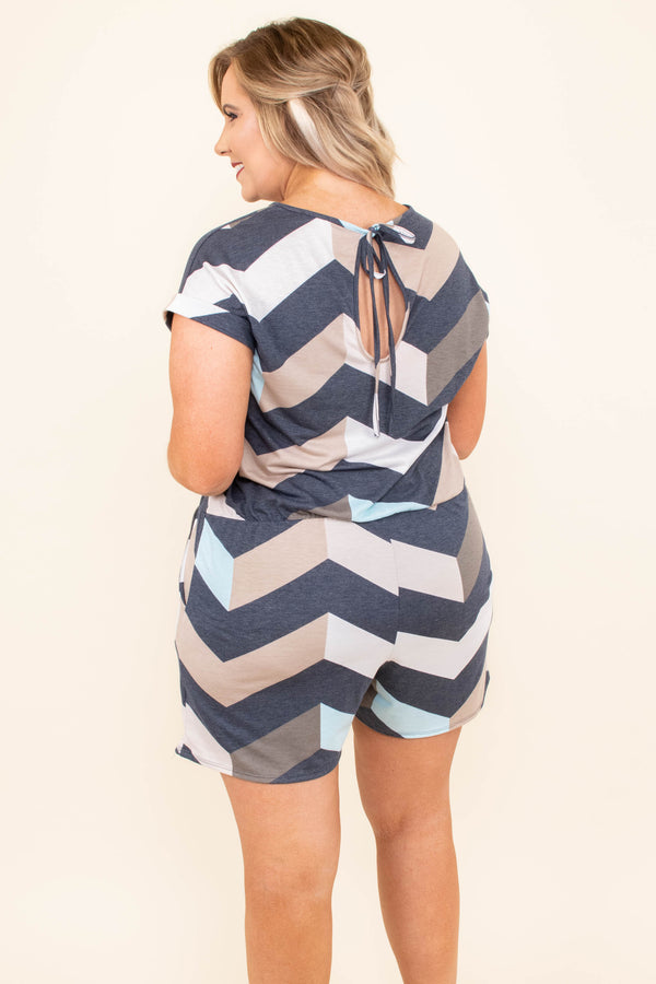 romper, shorts, short sleeve, pockets, drawstring waist, navy, blue, tan, brown, chevron, comfy