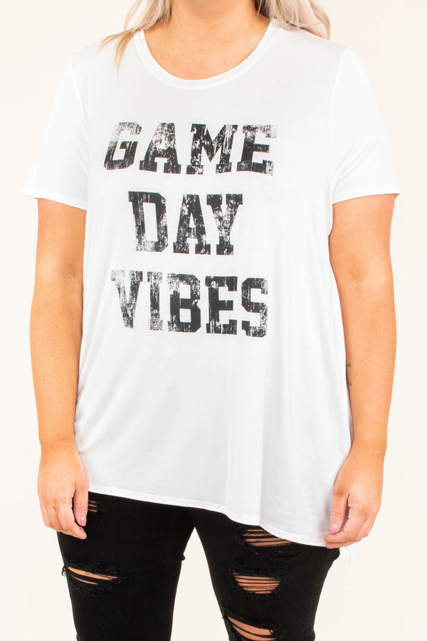 shirt, short sleeve, longer back, white, graphic, game day vibes, black, comfy, flowy