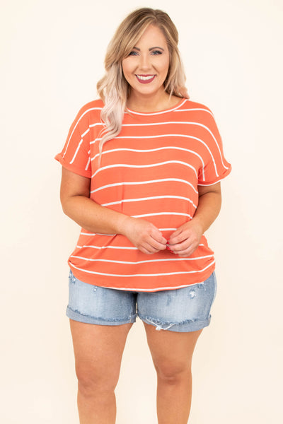 top, ivory, coral, stripe, short sleeve, loose