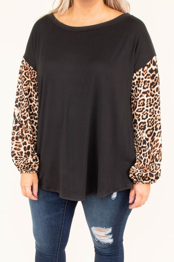 shirt, long sleeve, curved hem, black, solid, leopard sleeves, brown, dropped shoulder, flowy, fall, winter