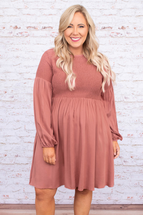 dress, short, long sleeve, bubble sleeves, smocked bust, flowy, mauve, comfy