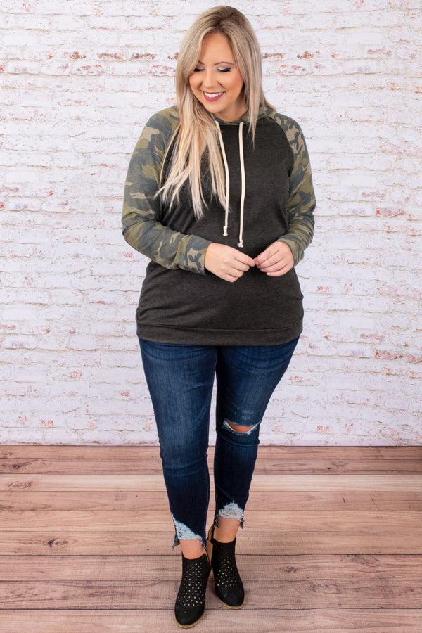 top, hoodie, pullover, gray, camoflauge, long sleeve, green, elbow patches
