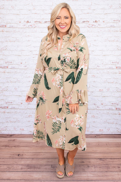 dress, midi, long sleeve, bell sleeves, button down, collared, tie waist, flowy, taupe, floral, green, white, pink, comfy