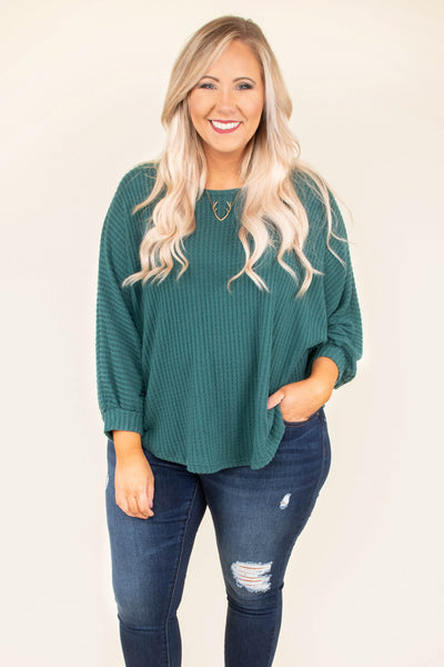 top, sweater, green, solid, three quarter sleeve, teal, ribbed