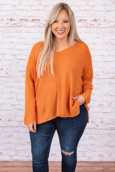 top, sweater, orange, solid, long sleeve