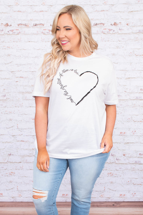 tshirt, short sleeve, loose, white, graphic, heart, and the greatest of these is love, black, comfy