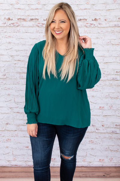 top, shirt, blouse, green, solid, bubble sleeve, dressy, winter, flattering