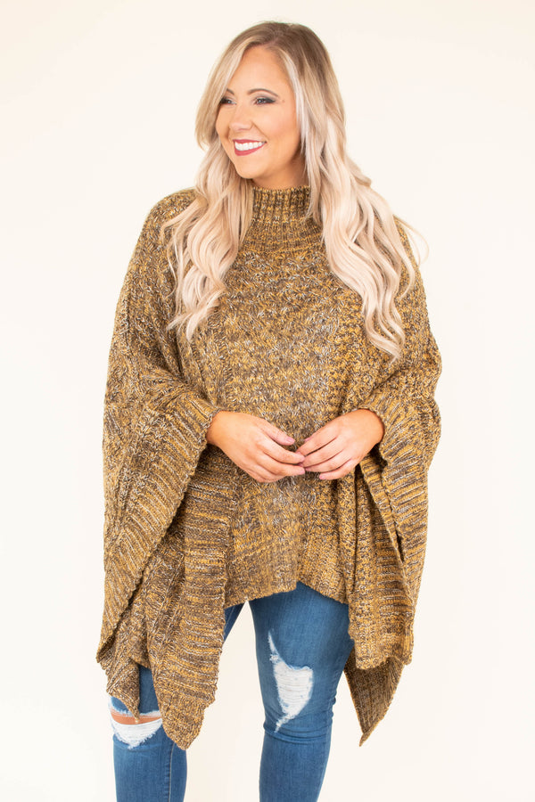 poncho, long sleeve, turtle neck, asymmetrical hem, brown, heathered, comfy, outerwear, fall, winter