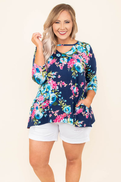 tunic, three quarter sleeve, cutout neckline, shorter front, pockets, flowy, navy, floral, pink, blue, green, comfy