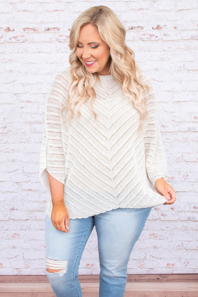 sweater, three quarter sleeve, loose sleeves, flowy, loose knit, chevron knit pattern, white, comfy