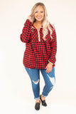pullover, long sleeve, quarter zip, red, black, plaid, white trim, comfy, outerwear, fall, winter