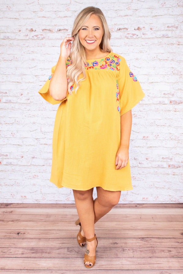 dress, short sleeve, yellow, short, flowy, embroidery, pink, blue, multi