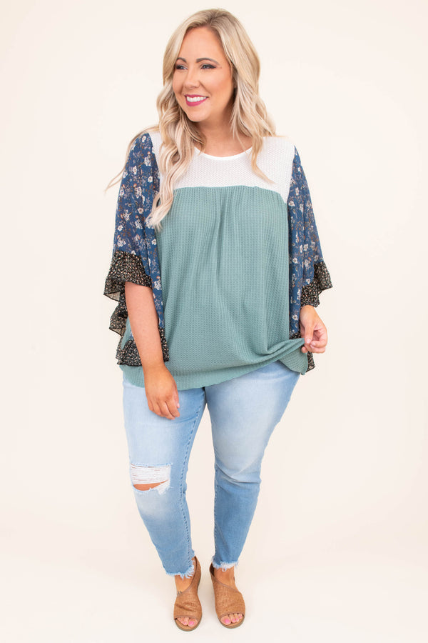 shirt, three quarter sleeve, bell sleeves, curved hem, waffle knit, blue, floral sleeves, black, white, brown, comfy