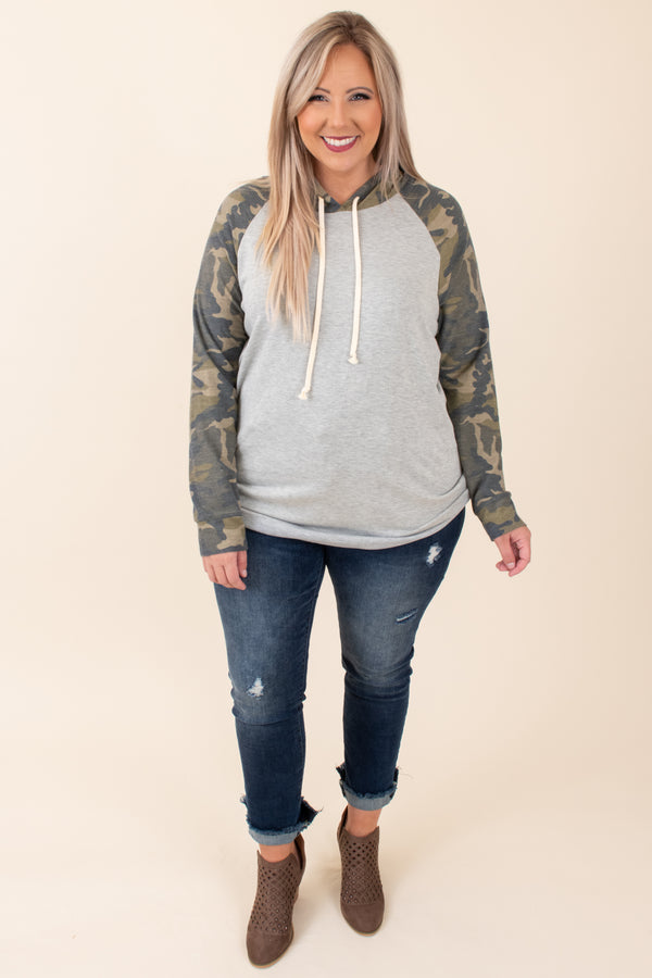 top, hoodie, pullover, gray, green, camo, camouflage, long sleeve, fall