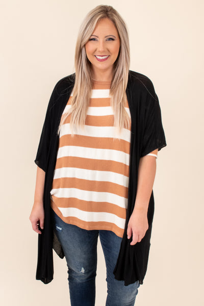 top, casual top, brown, striped, three quarter sleeve, casual, comfy, flattering