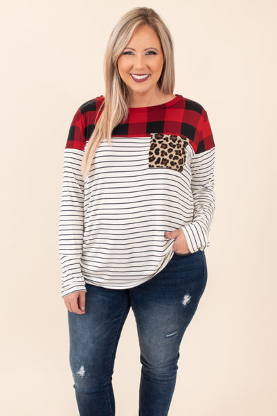 top, casual top, black, red, plaid, colorblock, leopard, striped, long sleeve, scoop neck