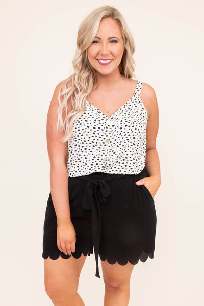 tank, spaghetti straps, vneck, button down, loose, white, black, polka dots, spring, summer, comfy