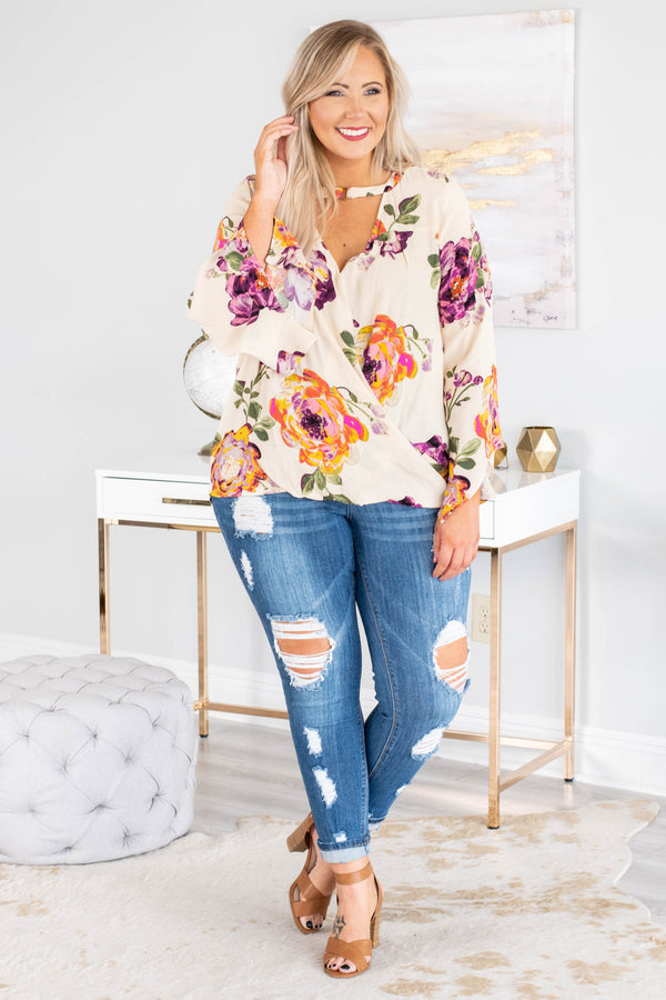 shirt, long sleeve, short, cutout neckline, bell sleeves, wrap design, off white, floral, purple, green, pink, orange, comfy