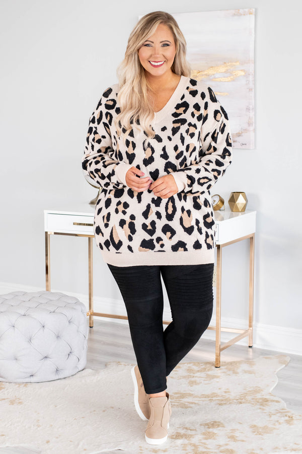 sweater, long sleeve, vneck, long, taupe, black, leopard, comfy, fall, winter