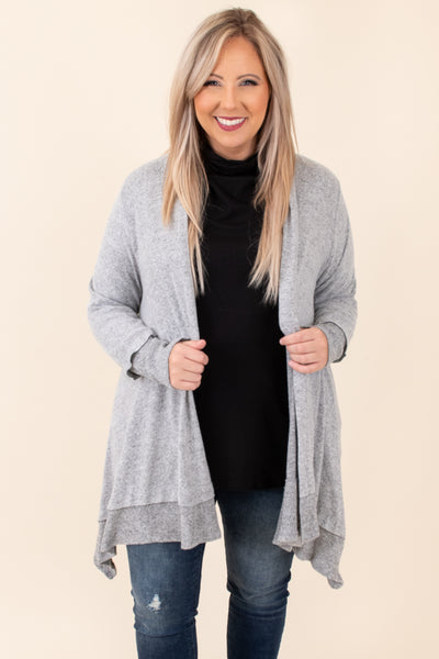 cardigan, gray, solid, long sleeve, comfy