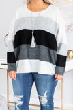 sweater, long sleeve, flowy, black, white, gray, charcoal, heathered, colorblock, comfy, fall, winter