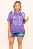 tshirt, short sleeve, comfy, purple, graphic, white, happy easter, bunny, spring