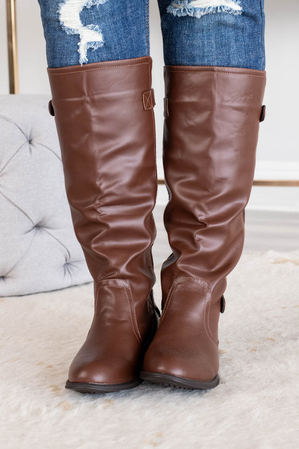 shoes, boots, knee high, leather, brown, detailed back