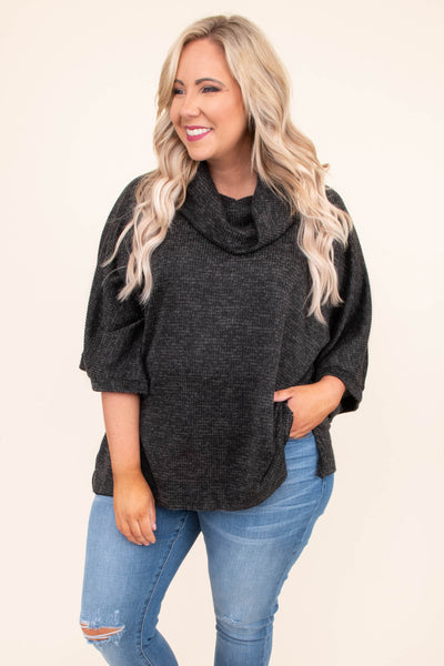 shirt, short sleeve, wide sleeves, long, loose, cowl neck, comfy, gray