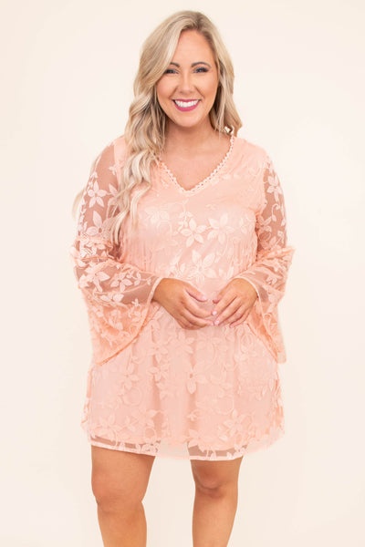 dress, short, long sleeve, ball sleeves, vneck, sheer sleeves, embroidered flowers, flowy, blush, comfy