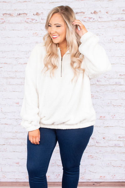 pullover, long sleeve, quarter zip, short, fuzzy, white, comfy, outerwear, fall, winter