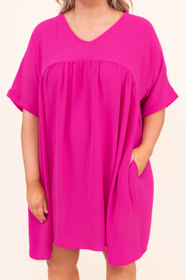 dress, short, short sleeve, babydoll, vneck, pockets, flowy, oversized, fuchsia, comfy, spring, summer
