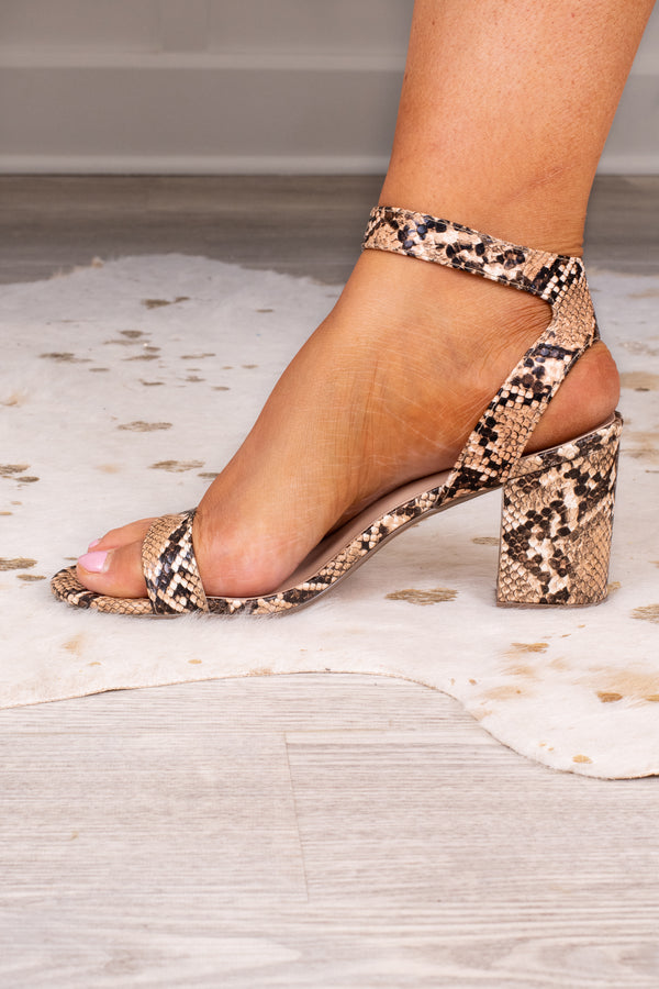 shoes, heels, chunky heel, block hill, snakeskin, brown, ankle strap, buckle, toe strap