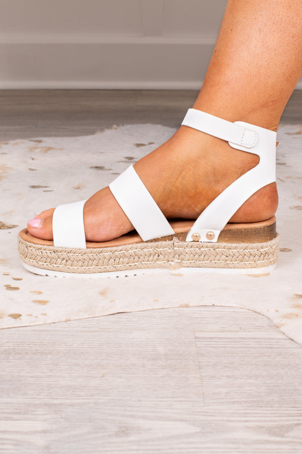 shoes, sandals, flatform, white, strappy, ankle strap, toe strap, buckle, rope bottom