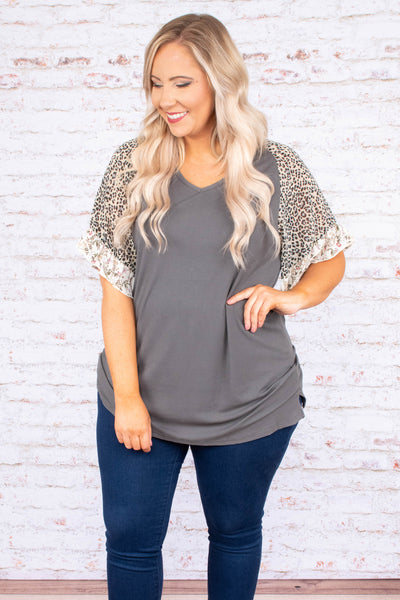 shirt, short sleeves, gray torso, leopard sleeves, ruffle sleeves, floral ruffles, loose, flowy sleeves, comfy