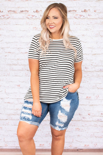 top, short sleeve, striped, black, white