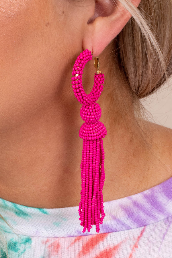 earrings, dangly, hoop, tassel, pink, fuchsia, beaded
