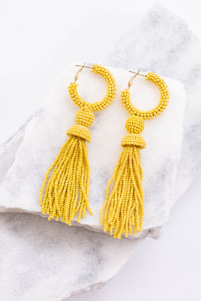 earrings, dangly, hoop, tassel, yellow, beaded
