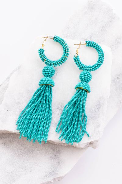 earrings, hoops, tassels, dangly, turquoise, beaded