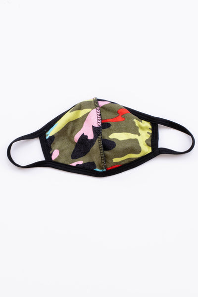 face mask, ear loops, comfy, covid, camp, colorful, green, black, pink, red, yellow