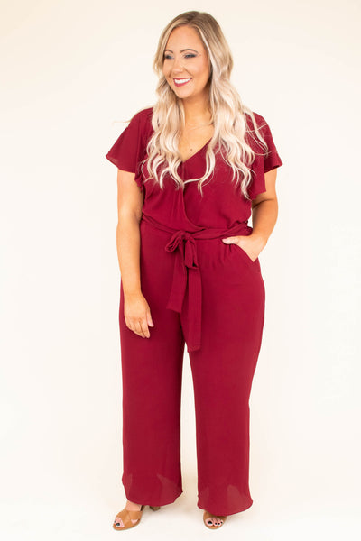 Try Not To Stare Jumpsuit, Burgundy