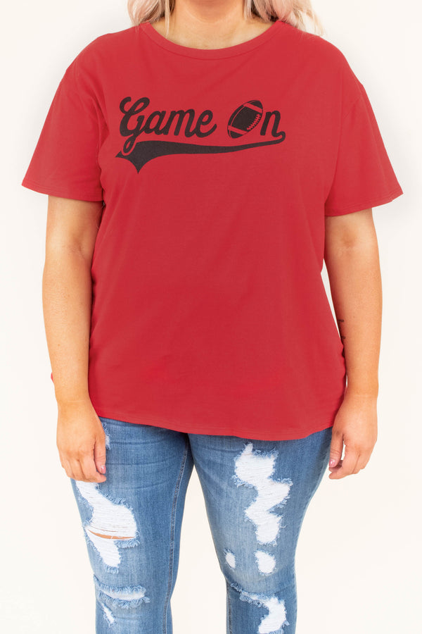 top, short sleeve, graphic, football, game on, black, red