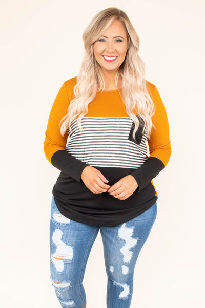 Blocked Off Top, Butterscotch-Black