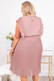 dress, midi, short sleeve, ruffle sides, flowy, cinched waistline, textured fabric, mauve, comfy