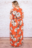 dress, short sleeve, orange, floral, ivory, pockets, short sleeve