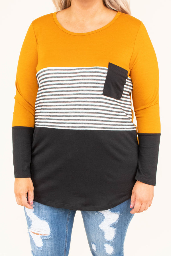 shirt, long sleeve, curved hem, scoop neck, chest pocket, butterscotch, black, gray, white, stripes, colorblock, comfy, fall, winter